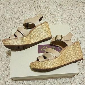 Clarks brand platform wedge sandals